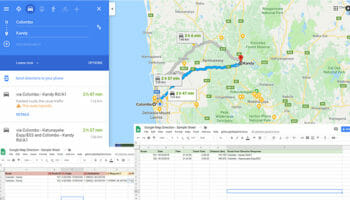 get Google Map direction data to Google Sheet - FE